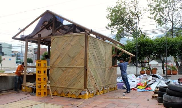 Mockup of Shigeru Ban's recent desaster relief shelters for Ecuador